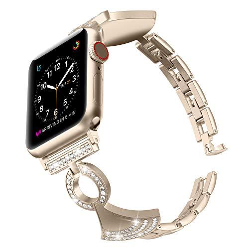 Glebo Bänder Kompatibel mit Apple Watch 38mm 40mm Iwatch Serie 5/4/3/2/1, Damen Edelstahl Schmuck Armband Armreif Ersatz Armband mit Bling Diamond Rock Armband, Champagner Gold