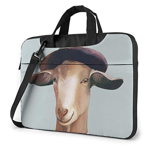Funny Goat Print Laptop Sleeve Compatible with 13-15.6 Inch, Notebook Computer Briefcase Bag