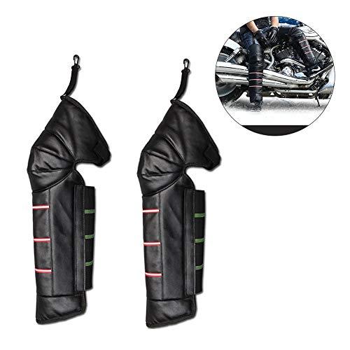 Bloomma Knieschoner, PU-Leder Winddicht Herren Beingamasche Verstellbare Strap Warme Leggings Covers für Motorradfahren Winter Ski
