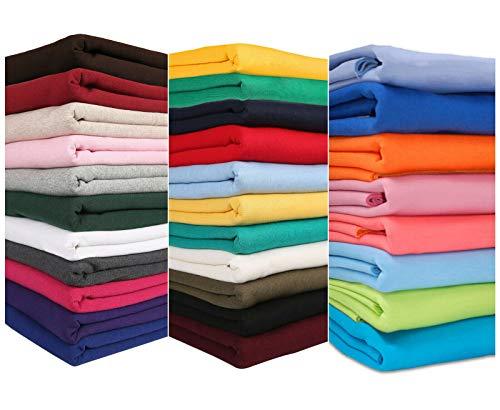 Tela de sudadera para Hoddies y Confección. 30 colores de esta tela de jersey de sudadera. Escuelas europeas aprobadas y probadas cepilladas. Neotrims. Turquoise 1m Fabric + 1/2m Rib Combo