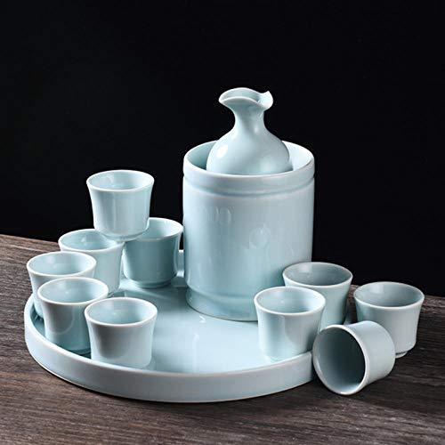 IKJN Conjunto De Sake Calentador De Vino De Cerámica, Jarra De Vino Caliente, Porcelana Azul Antigua De Color Sólido De Estilo Chino para El Hogar Japonés + Corcho