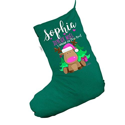 Personalizzato Joyeux Noël renne Jumbo verde calza di Natale