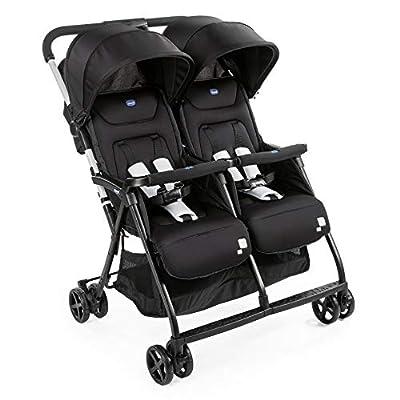 Chicco OHlala Twin - Silla de paseo gemelar, muy ligera y compacta, solo 8 kg, gemelos mellizos o hermanos, color negro (Black Night)