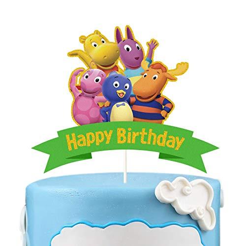 LYNHEVA Gold Glitter The Backyardigans Happy Birthday Cake Topper, The Backyardigans Theme Cake Decor, The Backyardigans Theme Birthday Party Decoration Supplies