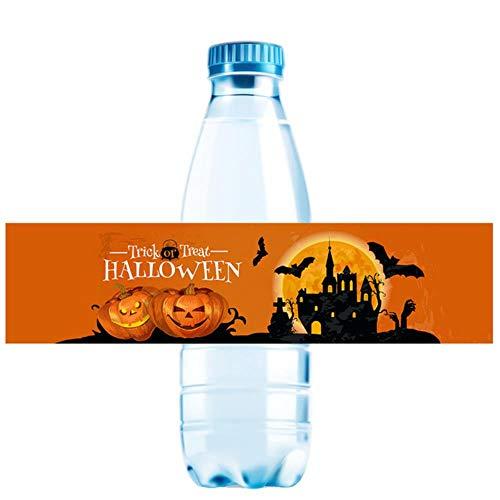 LLDS Halloween Party Wasserflasche Etiketten Aufkleber Startseite Happy Halloween Spider Kürbis Wasserflasche Etiketten Party Dekoration Gefälligkeiten, G, 10Pcs