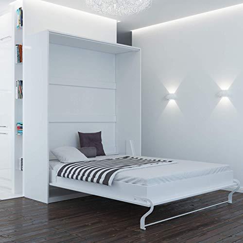 Schrankbett 160×200 weiss mit Gasdruckfedern, ideal als Gästebett – Wandbett, Schrank mit integriertem Klappbett, SMARTBett - 2