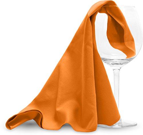normani Mikrofaser Poliertücher für Weingläser Glaspoliertücher oder Hochglanzoberflächen mit Druckschlaufe zum Trocknen 40 x 40 cm Farbe Orange Größe 2 Stück 40 x 40 cm