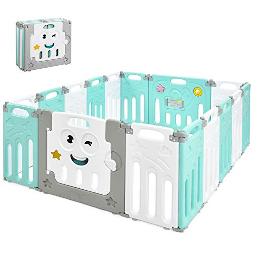 Costzon Foldable Baby Playpen, 16-Panel Baby Play Yards with Lock Door & Anti-Slip Rubber Mats, Indoor Outdoor Safety Baby Fence with Adjustable Shape for Children Toddlers (16 Panel, Green + White)