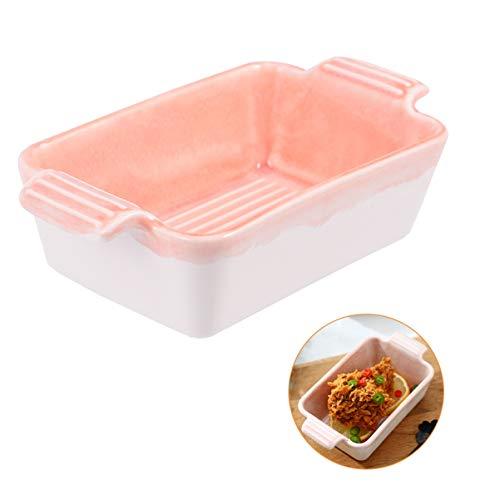 Cabilock - Bandeja para lagarilla con asas de cerámica para horno de cocina (rectangular)