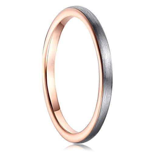 Cloyo Unisex 2mm Zweifarbiges Ehering Roségold Wolframcarbid Verlobungsring Passt perfekt Größe 62(19.7)