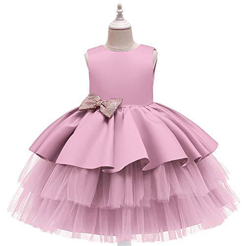 BAIDEFENG Verano Beb Princesa Pastel Vestido Nios Nias Brillo Lentejuelas Fiesta de Bodas Vestido de Baile Desfile de Baile Cumpleaos Navidad Bowknot Vestidos de Flores-Rosa_Los 90cm