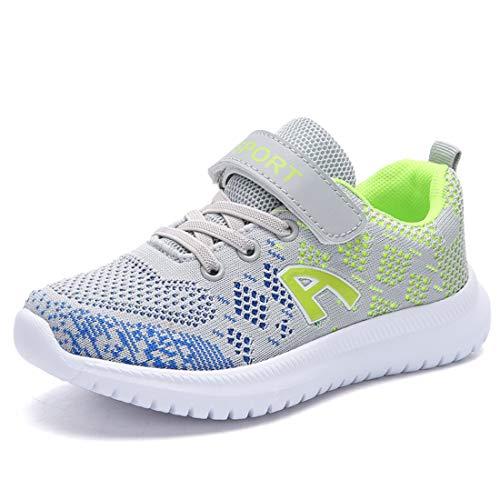 Unpowlink Kinder Schuhe Sportschuhe Ultraleicht Atmungsaktiv Turnschuhe Klettverschluss Low-Top Sneakers Laufen Schuhe Laufschuhe für Mädchen Jungen 28-37, Grau-grün A, 38 EU