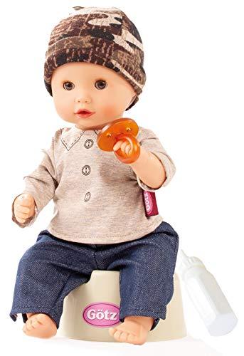 Götz 2154116 Sleepy Aquini Junge - 33 cm große Badepuppe mit braunen Schlafaugen, ohne Haare in 7-teiligem Set - Babypuppe ab 18 Monaten