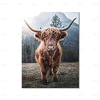 アニマルプリントポスターキャンバス絵画ブラウンハイランド牛壁アートリビングルーム装飾写真家の装飾(フレーム付き)