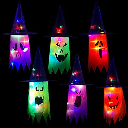 ZQTRT Halloween-Hängedekorationen Geister mit Hexenhut und LED-Lichtern, 6 Stück, Halloween-Hexenhut, Deko-Licht für den Innen- und Außenbereich, Garten, Bäume, Party-Dekoration