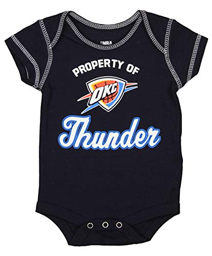 Outerstuff Oklahoma City Thunder NBA Baby Boys Infant/Newborn 3-Piece Bodysuit Set, Black/Grey/Blue, 0-3M