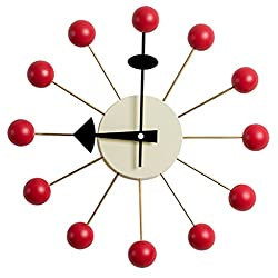 MLF George Nelson Ball Clock, Atomic Wooden Wall Clock Mid Century Antique Retro Nelson Style(Red)