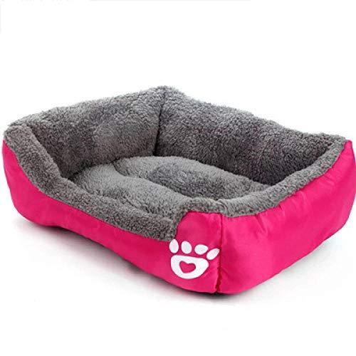 Cama para Mascotas, con una Alfombra Suave para Mascotas, Cama para Gatos Perros, Cama Suave de Felpa de tamaño Mediano -枚红色_M