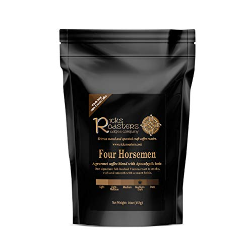 Ricks Roasters Coffee   Four Horsemen Specialty Blend   1 Pound (1 lb) Whole Bean   Pacific, Central American, African & Espresso Beans   USA Veteran Owned & Operated