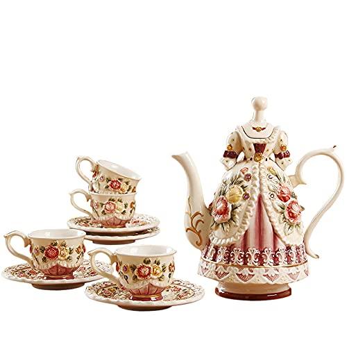 Tetera japonesa, Conjuntos de té de porcelana real para adultos taza de té y platillo regalo conjuntos de café británicos para el hueso de la tarde China Princesa de cerámica de la princesa Tetera de