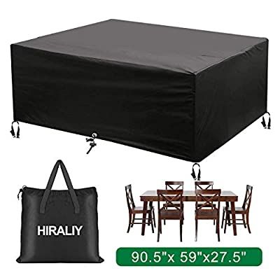 "HIRALIY Outdoor Patio Furniture Covers Rectangular Waterproof Heavy Duty Oxford Cloth Dining Table Chair Set Cover (90"" L x 59"" W x 27.5"" H)"