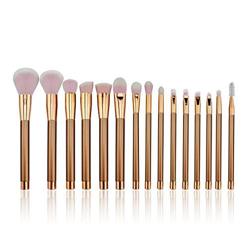 LNLW Lot de 15pcs éponge cosmétiques Ombre à paupières Eyeliner Sourcils Lèvres Nez Fond de Teint Poudre pinceaux de maquillage Ensembles (Color : Gold)