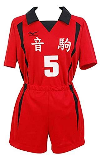 Bilicos Haikyuu !! Nekoma High School NO.5 Kenma Kozume Cosplay Kostüm Volleyball Team Trikot Uniform Rot M
