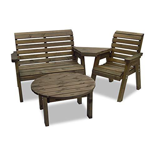Barrowden Garden Double/Single Companion Seat (Straight) with Circular Coffee Table (Rustic Brown)