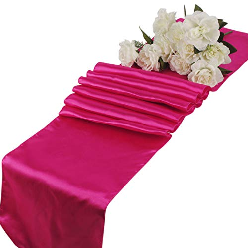 mds Pack of 10 Wedding 12 x 108 inch Satin Table Runner for Wedding Banquet Decoration- Magenta