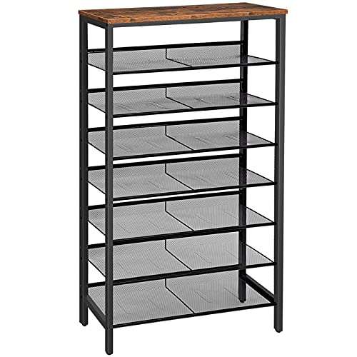 HOOBRO 8-Tier Shoe Rack, Large Capacity, Tall, for 21-28 Pairs of Shoes, Shoe Storage Organizer with Unit Flat & Slant Adjustable Metal Shelves, Space Saver, Sturdy Stable, Rustic Brown EBF18XJ01