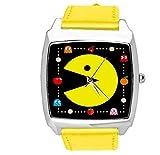 Reloj analógico de cuarzo con correa de cuero auténtico cuadrado amarillo para aficionados al juego