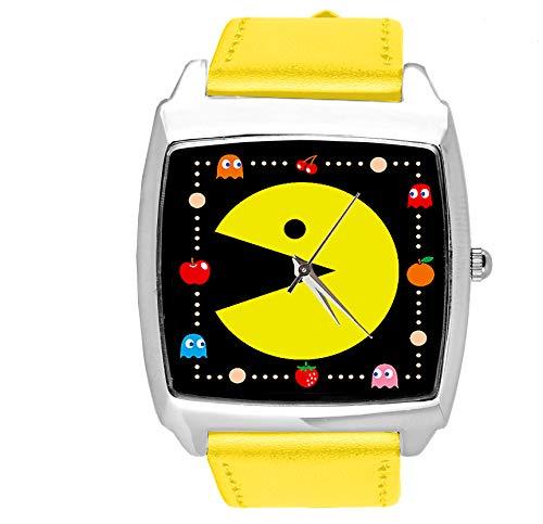Reloj analógico de cuarzo con correa de piel auténtica, cuadrado amarillo para aficionados al juego