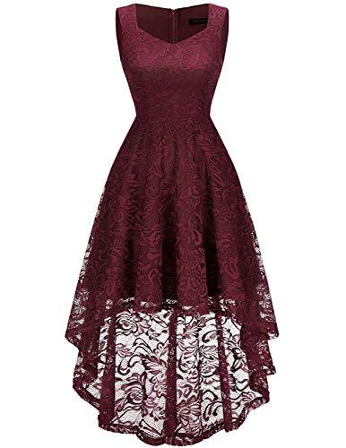 Meetjen Damen Elegant Spitzenkleid Herzform Unregelmässig Vokuhila Kleid Festlich Cocktail Abendkleid Burgundy 2XL