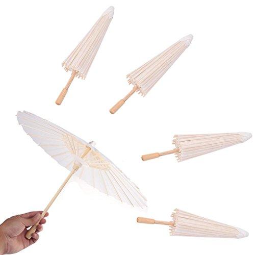 OBANGONG 5 Pcs Paper Parasols Kids DIY Umbrella Projects Wedding Decoration Photo Prop