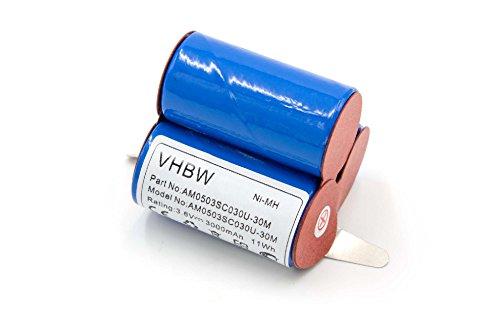 vhbw NiMH Akku 3000mAh (3.6V) für Haushalt Staubsauger AEG D-SCX3, E BP 0017, Electrolux AG41W, Emerich SIPA, Handstaubsauber Lervia wie AG41W.