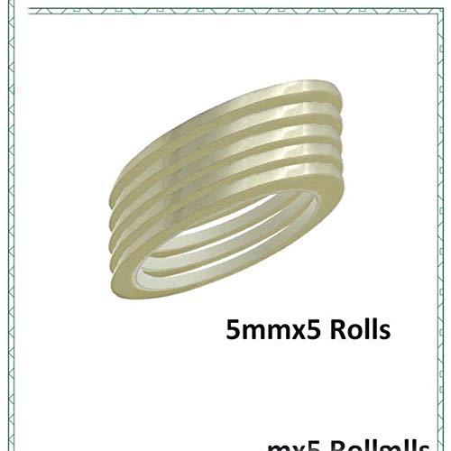 5Pack 5mm breites Isolier-Mylarband Flammschutzmittel für Spule, Transformator, Draht, Batterieverpackung, Hochtemperatur 50 Meter/Rolle, Transparent, 5 mm x 5 Rollen
