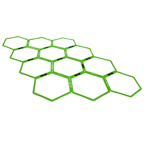 Yes4All Hex Agility Rings/Speed Rings with Carrying Bag – Hexagon Rings, Agility Hurdles for Agility Footwork Training (Set of 12 Neon Green Rings)
