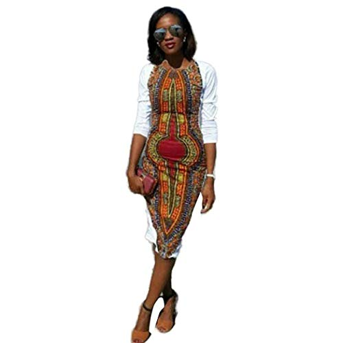 African Print Dresses for Women Long Sleeve Knee Length Dress Casual Traditional White
