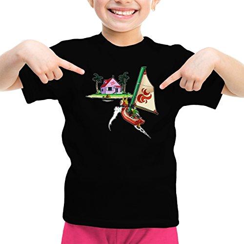 T-Shirt Enfant Fille Noir Dragon Ball Z - Zelda parodique Link et la Kame House : La découverte d'une Nouvelle île. (Parodie Dragon Ball Z - Zelda)