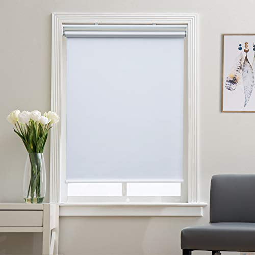 Blackout Roller Shades and Blinds for Windows, Bedroom, Thermal, Cordless and Easy to Pull Down & Up, White, 28' W x 72' H