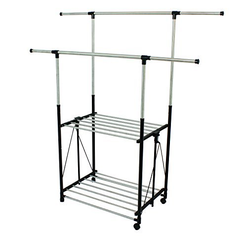 Greenway Stainless Steel Collapsible Double Bar Garment Rack by Greenway