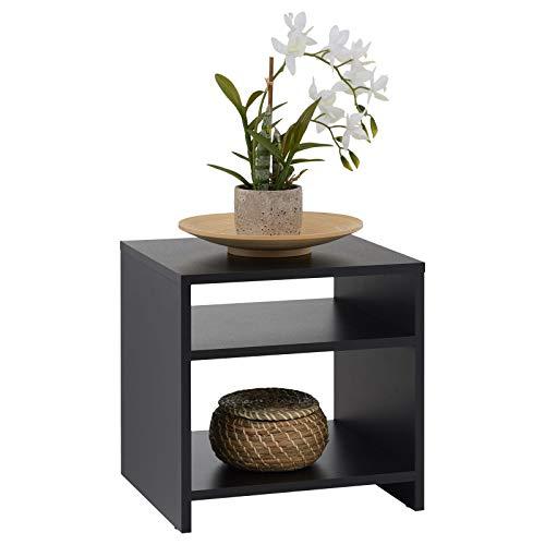 CARO-Möbel Nachttisch Nachtschrank Beistelltisch ALMERIA in grau anthrazit, mit 2 offenen Fächern