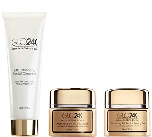 GLO24K 24k Gold Moisturizing Day Cream, Peeling Gel, Exfoliating Facial Cleanser Complete Set