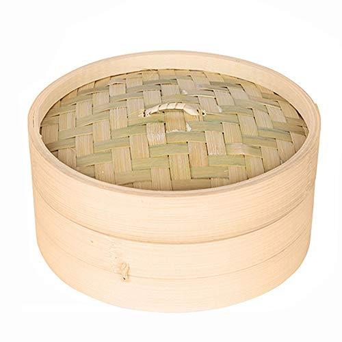 ZHUZI Bamboo Steamer Basket, Chinese 10/15/20cm Dumpling Steamer, Bamboo Basket with Lid Cooker Set Cage, Bamboo Steamer(10cm)