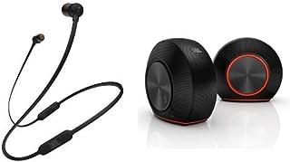 JBL T110BT Bluetooth イヤホン ブラック + Pebbles バスパワードスピーカー USB/DAC内蔵 ブラック [JBLT110BTBLKJN +  JBLPEBBLESBLKJN] 【国内正規品】