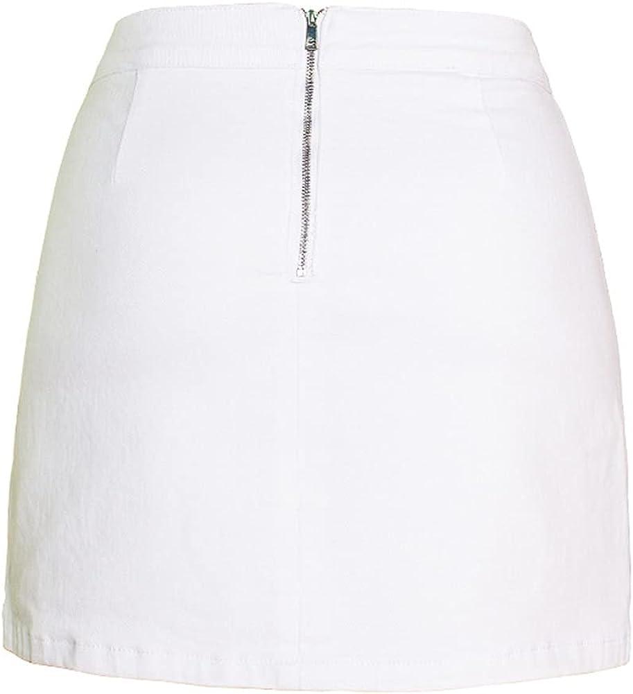 chouyatou Women's Stretchy Package Hip A-Line Mini Denim Skirt with Side Split
