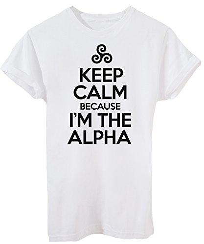 T-Shirt Keep Calm Sono Alpha Teen Wolf - Serie TV - Bambino-XL-Bianca