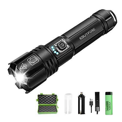 EBUYFIRE Linterna Led Recargable Alta Potencia,2000 Lúmenes 5 Modos Zoomable Antorcha de Mano,IP65 Impermeable Linterna Táctica con 18650 Batería Recargable, cargador USB,Funda de Linterna