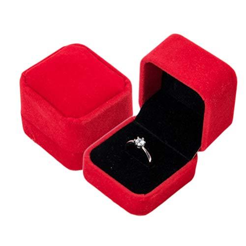 Macabolo - Scatola quadrata in velluto, per orecchini, per matrimoni, feste, matrimonio, matrimonio, matrimonio, matrimonio