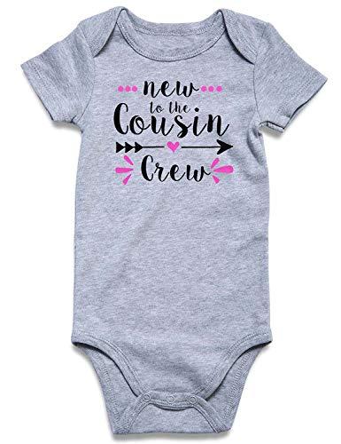 Cutemefy Macacão infantil divertido para meninos e meninas de 0 a 18 meses, New to the Cousin Crew, 0-3 meses